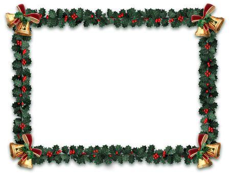 campanas navide�as: Holly guirnalda frontera con campanas de oro sobre un fondo blanco con la letra tama�o de proporci�n de aspecto