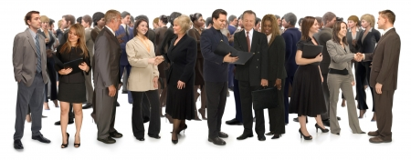 networking: Group of corporate business people networking on a white background Stock Photo
