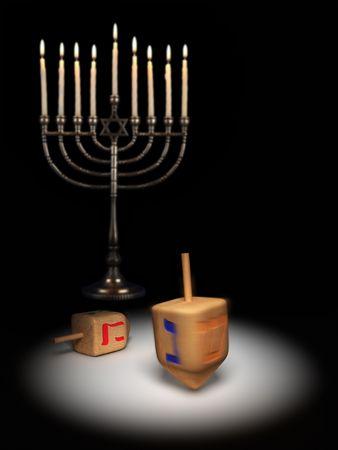 chanukiah: Hanukkah dreidels under a spotlight