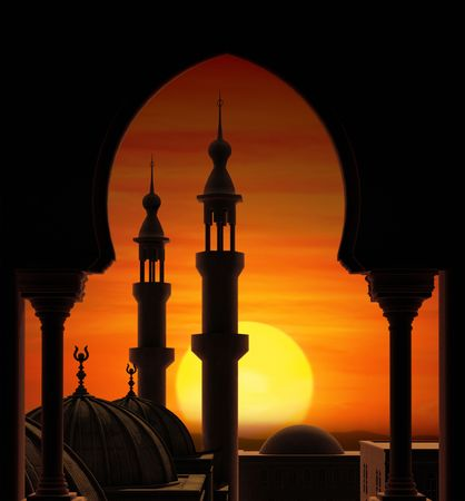 Fireball sunset behind two minarets