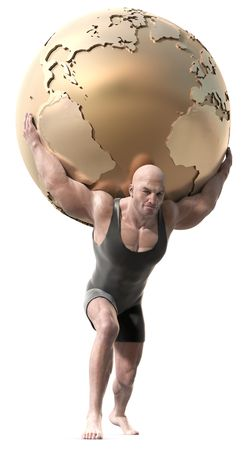 A muscular man with a body suit lifting a globe of the earth. Imagens