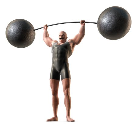 A muscular man with a handlebar mustache and a body suit lifting a weight with a bending bar. Stock Photo