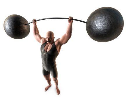 levantar peso: Un hombre musculoso con un bigote del manillar y un traje de cuerpo levantar un peso con una barra de plegado.