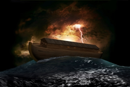 genesis: Noahs Ark riding on a swell after the Great Flood Stock Photo