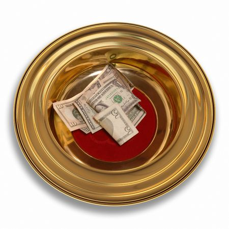 Church offering plate with some currency in it Stock Photo - 7038174