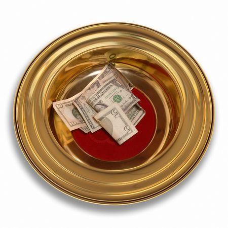 Kerk biedt plaat met één of andere munt in het Stockfoto