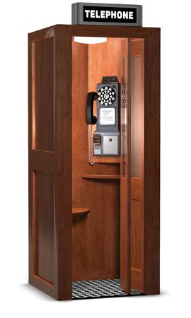 Retro wooden phone booth isolated on white