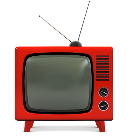 retro tv: Retro plastic television Stock Photo