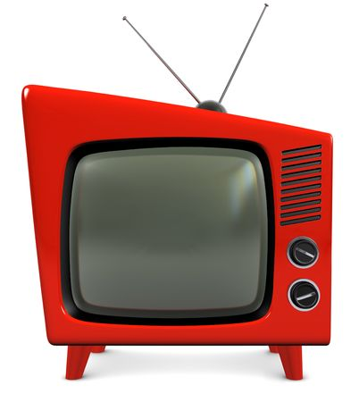 1950s style retro plastic TV with a trapezoidal design, isolated on white Standard-Bild