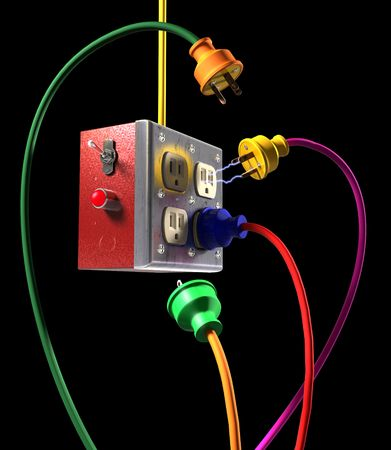 electric current: Colorful electric plugs and socket box on a black background