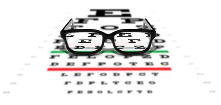 Prescription glasses sitting on an eye test chart Stock Photo - 7038050