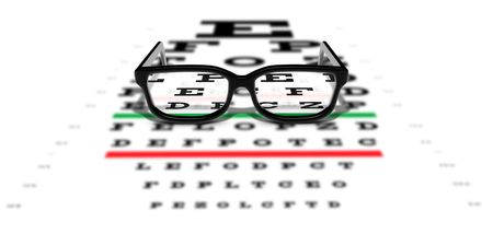 eye test: Prescription glasses sitting on an eye test chart Stock Photo