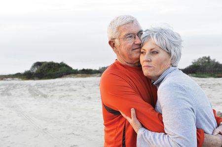 medium shot: Medium shot of a senior couple at the beach Stock Photo