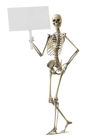 A skeleton standing casually and holding a sign on a white background Stock Photo - 7038169