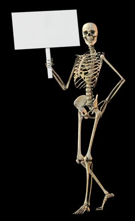 peaking: A skeleton standing casually and holding a sign on a white background