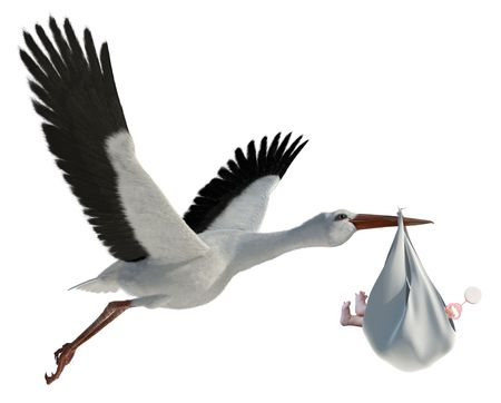 deliver: Classic depiction of a stork in flight delivering a newborn baby Stock Photo