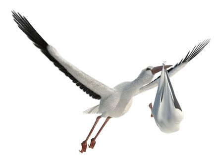 Classic depiction of a stork in flight delivering a newborn baby Stock Photo