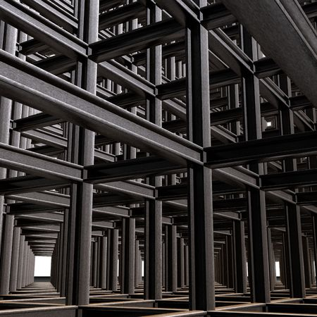 Structural abstract of intersecting steel beams in a 3D matrix Banco de Imagens