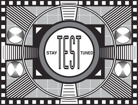 retro tv: TV broadcast test pattern modeled after similar test patterns from that era