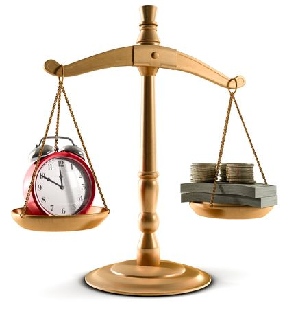 business metaphore: Stock Photo of Scales in equal balance holding a clock left on the and money on the right.