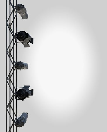 theatrical: vertically hung spotlights lighting the right side of a page up.