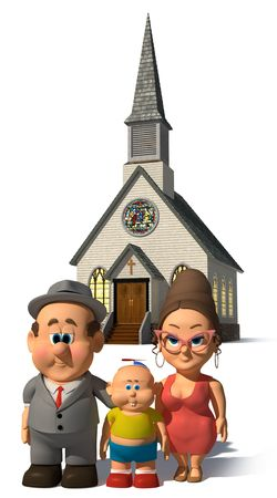 A happy cartoon Family posing in front of a church on a white background. Keyword Wilfred to find more on this character.