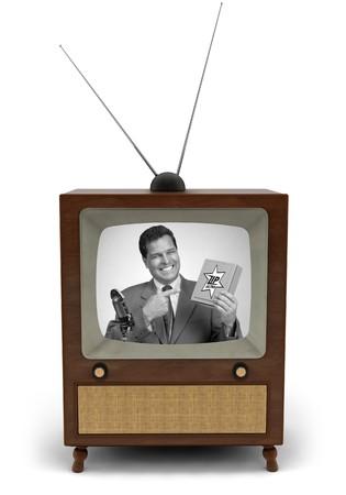 1950 年代のテレビでは、ニュース速報を読むニュース キャスター