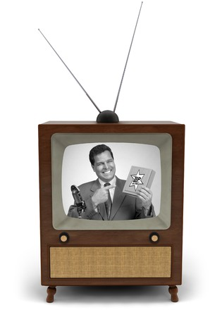 infomercial: 1950s television with a newscaster reading a news bulletin