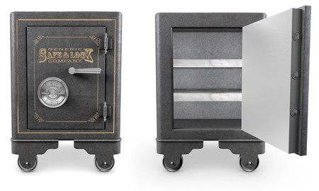 casters: 2 Antique iron safes isolated on white background, one is open