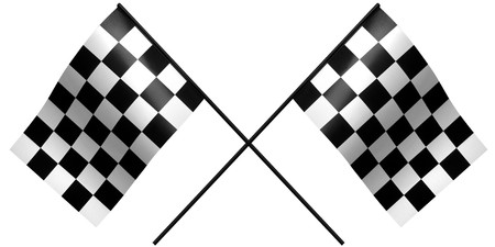 single checkered flag on white photo