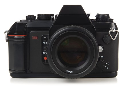 orthographic: 35mm SLR camera shot on white background orthographic view