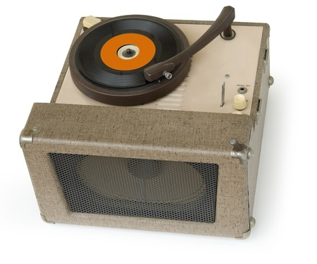 phonograph: 50s era phonograph playing a 45 single vinyl record isolated on a white background