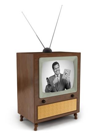 1950 년대의 흑인과 백인 상업 광고로 남자가 제품을 선보이는 TV 스톡 콘텐츠 - 7039751