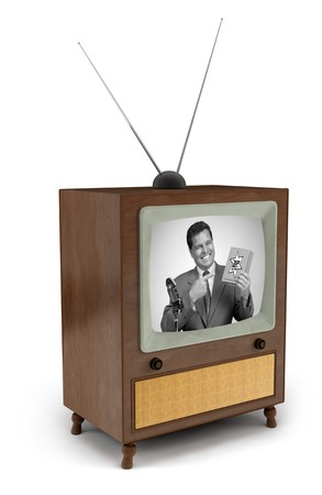 1950s era TV with black and white commercial showing a man pitching a product Zdjęcie Seryjne