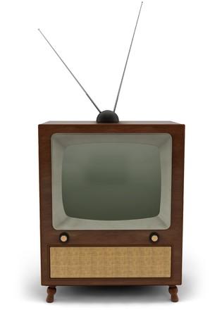 뉴스 게시판을 읽고있는 뉴스 캐스터가있는 1950 년대 텔레비전 스톡 콘텐츠
