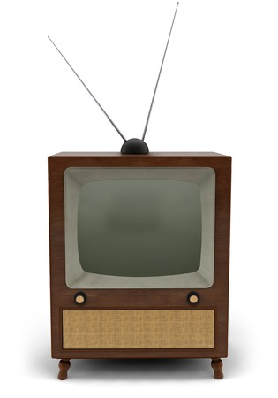 tv antenna: 1950s television with a newscaster reading a news bulletin