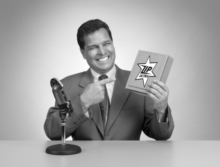 Retro pitch man in black and white from a 1950s era TV commercial photo