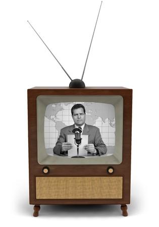 뉴스 게시판을 읽고있는 뉴스 캐스터가있는 1950 년대 텔레비전 스톡 콘텐츠 - 9519748