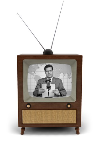 1950's television with a newscaster reading a news bulletin Stockfoto