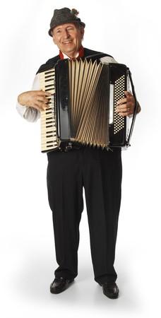 acordeon: acorde�n jugador sobre fondo blanco Foto de archivo
