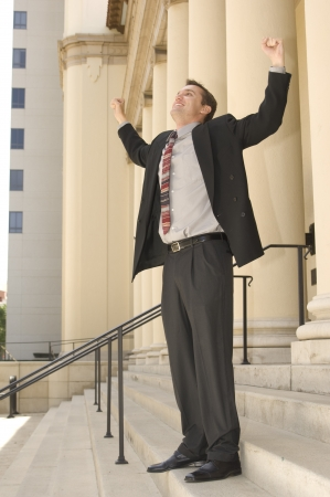 exuberance: Courtroom Victory Stock Photo