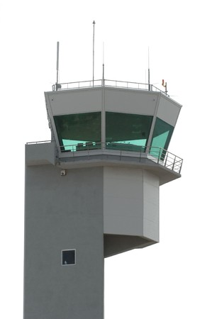 Airport tower on white background photo