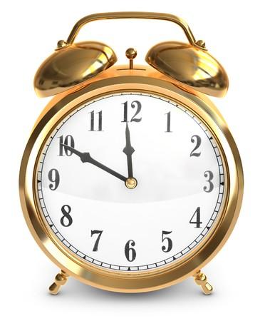 上の鐘とヴィンテージ真鍮目覚まし時計