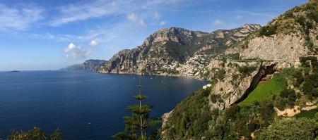 positano: Amalfi Coast looking North across the Mediterranean toward Positano