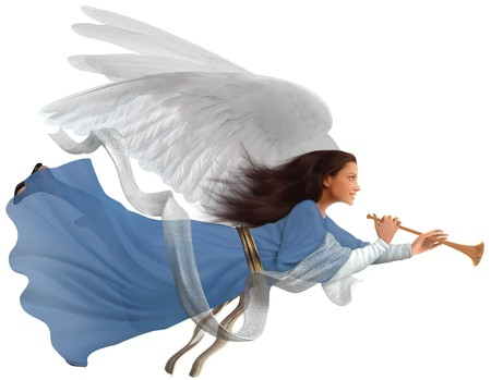 trompette: Angel avec trompette sur isol� sur fond blanc  Banque d'images