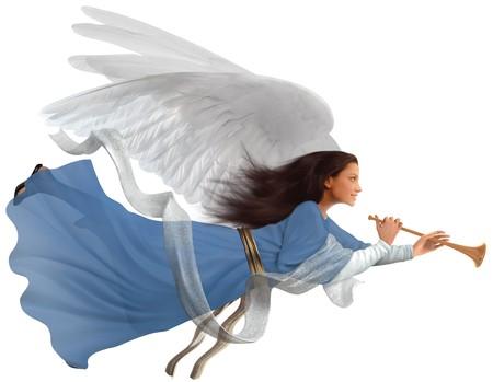 trompeta: Angel con trompeta en aislados sobre fondo blanco  Foto de archivo