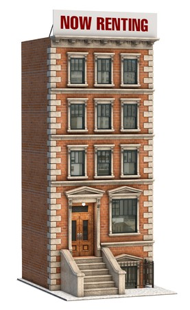 brownstone: Brownstone apartment building on a white background Stock Photo