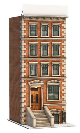 apartment: Brownstone apartment building on a white background Stock Photo
