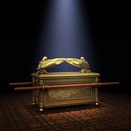 Ark of the Covenant inside the Holy of Holies illuminated with a shaft of light from above Stock Photo