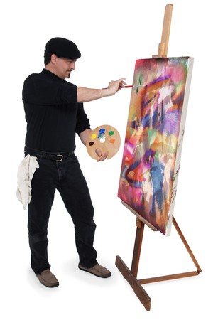 흰색 backgound에 이젤에 캔버스를 페인팅하는 동안 예술가 pallete를 들고 베, 입고 화가 화가 스톡 콘텐츠